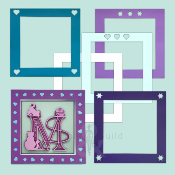 3D Hearts 'N Stars SVG Shadow Box Picture Frame