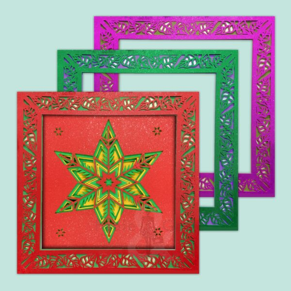 3D Christmas Holiday Poinsettia SVG Shadow Box Picture Frame