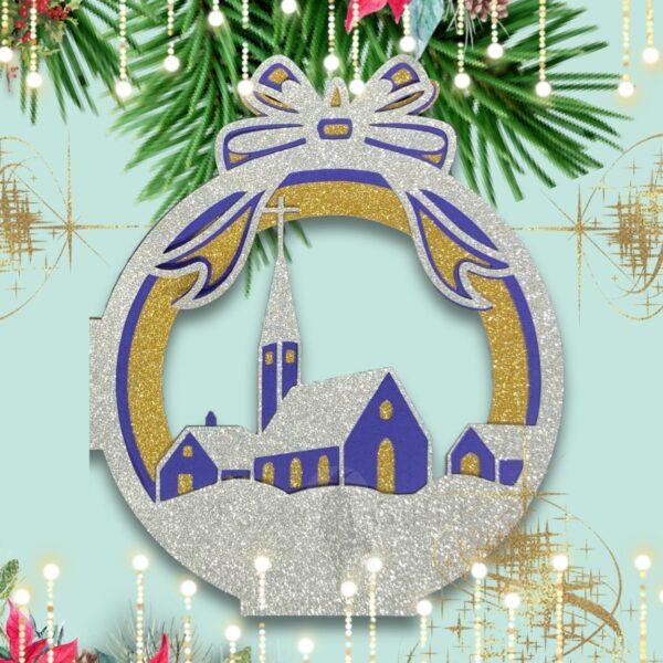 On Christmas Night Bauble Christmas Card