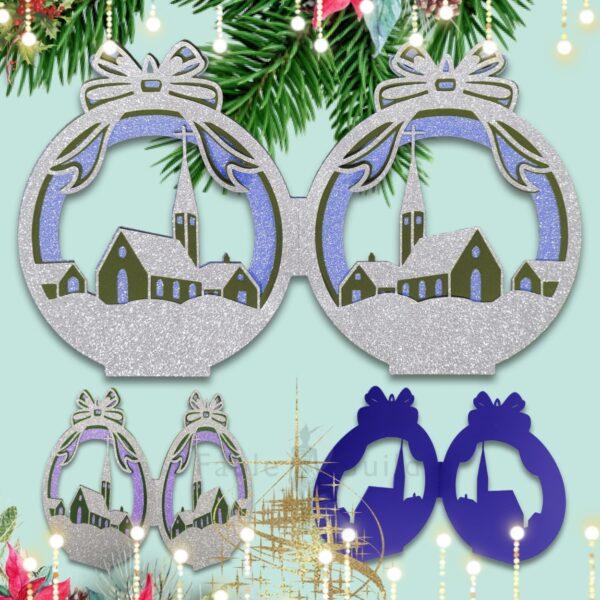 On Christmas Night Bauble Christmas Cards