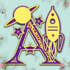 Starship SVG Cut File Alphabet Letter A