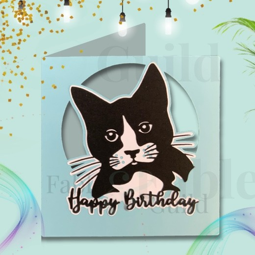 Molly the Cat Birthday Card SVG Cut File