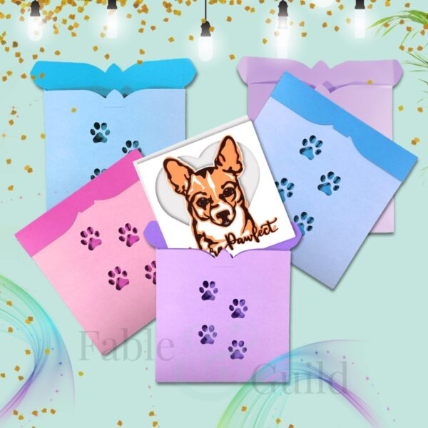 Cutie Dog Paws Square SVG Dog Envelope cut file template
