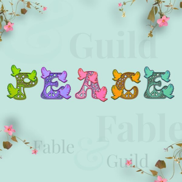 70's retro styled SVG letters - Doves of Peace cut files