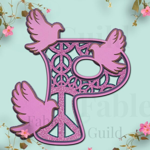 P 70's retro styled SVG Doves of Peace Letter cut files
