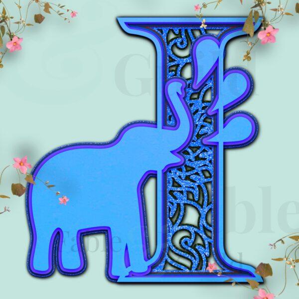 Ely the Elephant Cut File Alphabet Letter I