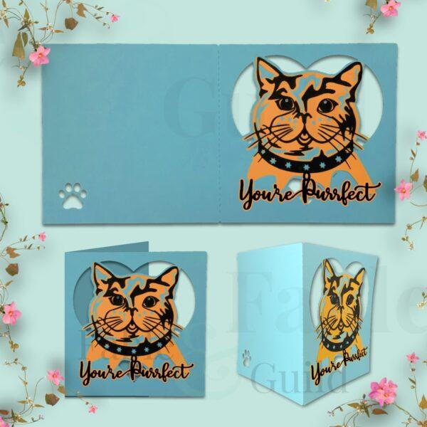 Luna the Cat You're Purrfect a Cat Greeting Card Cut File