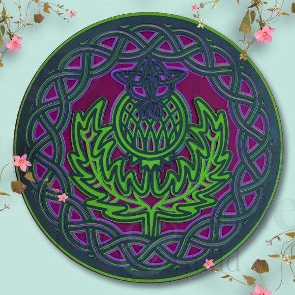 Shield of Glory Thistle Mandala SVG Cut File