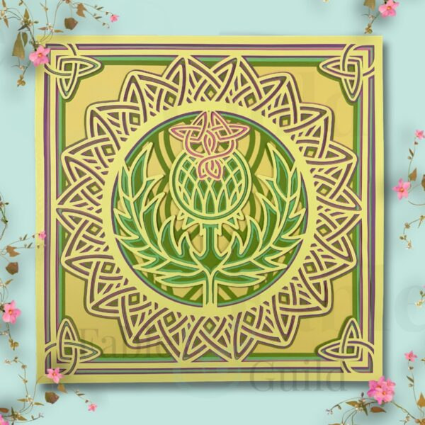The Crowned Thistle Celtic Mandala SVG Cut File