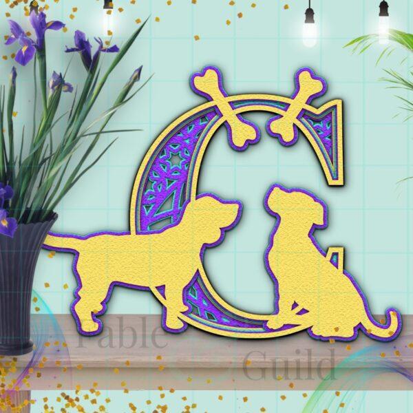 SVG Cameo Dog Letter Cut File C