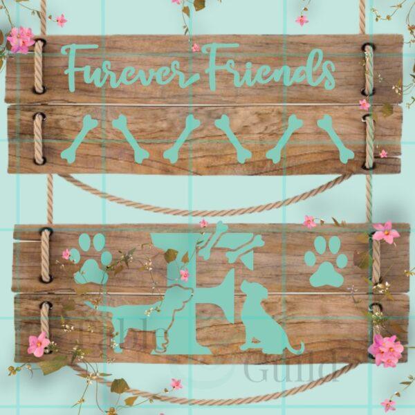 Furever Friends Decal Stencil Letter Set F