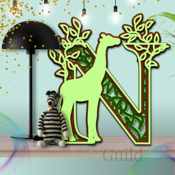 Multi Layered Giraffe Cut File Alphabet Letter N