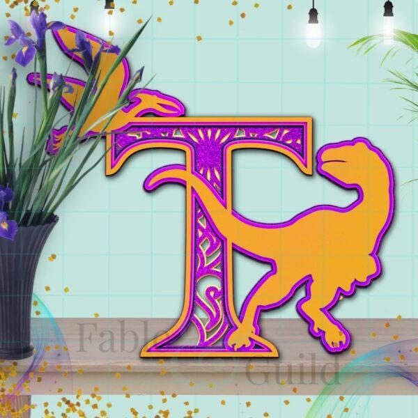 Dylan the Dinosaur SVG Cut File Letter T
