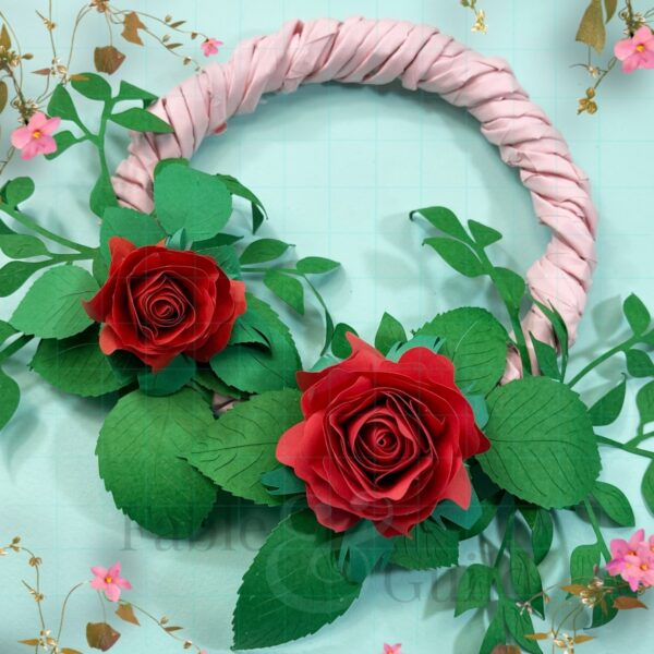 The Ava - A Paper Rose Wreath with Foliage