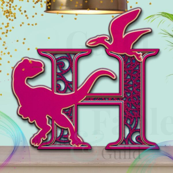 SVG Dylan the Dinosaur Letter Cutting File H