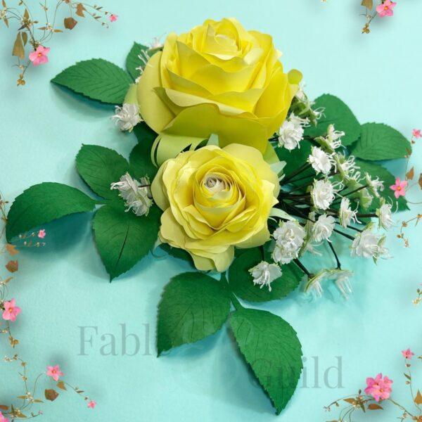 Sweet English Rose Bouquet - Paper Bouquet Cutting Files