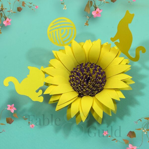 Cat with Sunflower SVG