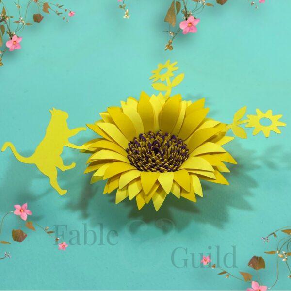 Cat Love Sunflower Template SVG