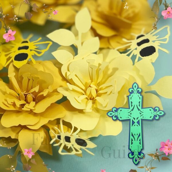 Wild Rose & Bumble Bee SVG Rolled Paper Flowers