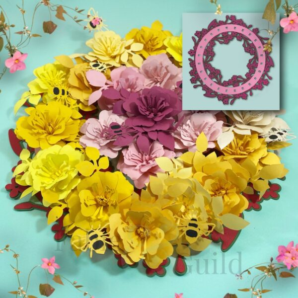 Wild Rose & Bumble Bee Rolled Paper Flower Cutting File (inc. FREE SVG Wreath)