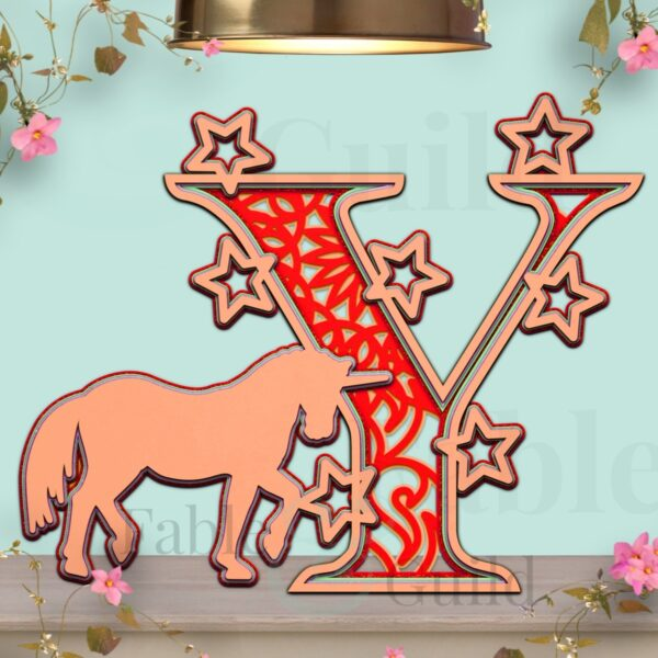 Unicorn SVG Letter Template Y