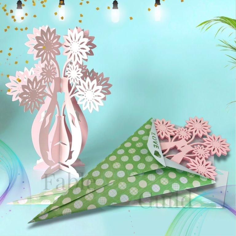 3d svg cut flowers vase