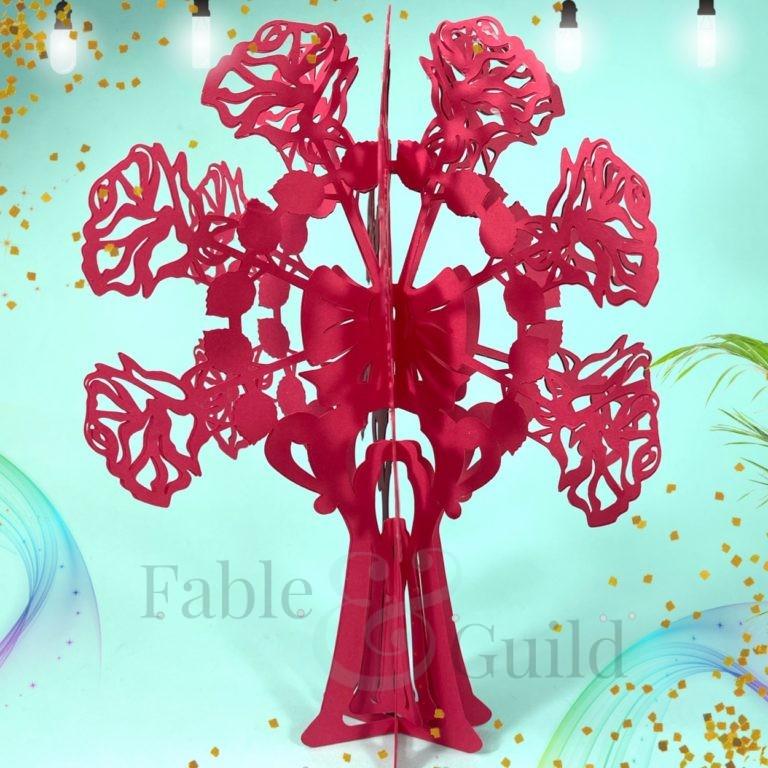3D Rose Vase Cut File / 3D Rose Bouquet SVG