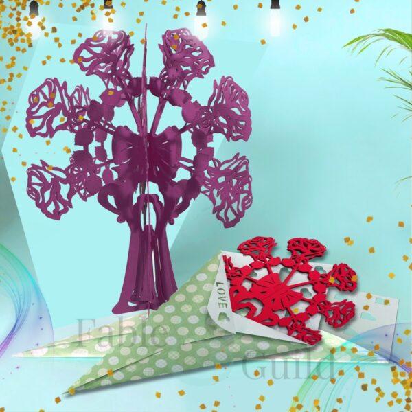 3D Rose Bouquet SVG Cut File