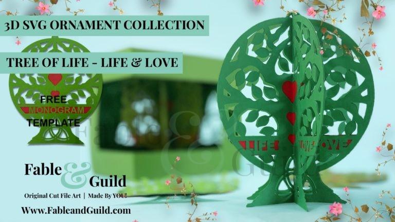 3D Tree of Life SVG Ornament Design